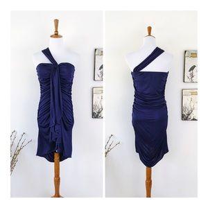 BLACK HALO Draped Asymmetrical Strap Dress NWOT M